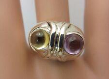 Sterling Silver Amethyst Citrine Cabochon Ring Owl bird
