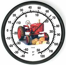 """New McCormick Farmall Pumpkin Tractor Wall Thermometer 10"""" Round"""