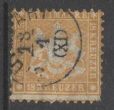 1863 German States WURTTEMBERG  18 Kreuzer  issue used  € 500.00