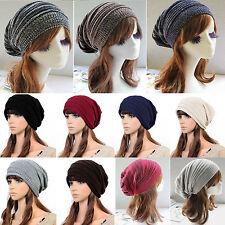 FEMME CHAUD HIVER bouffant bonnet tricot crochet surdimensionné Chapeau souple