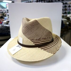 BAILEY NATURAL/BROWN GENUINE PANAMA TRILBY FEDORA DRESS HAT