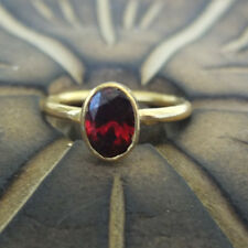 Brushed Roundband Handmade Garnet Stack Ring 24K Gold Over Sterling Silver