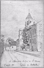 LÉON BERVILLE 3 DESSINS ORIGINAUX 1877 CRÉTEIL église cage maison Val-de-Marne