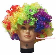 Halloween Rainbow Afro Curly Wig Unisex Costume HA30