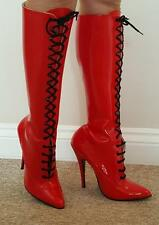 Stiletto Lace Up 100% Leather Upper Boots for Women