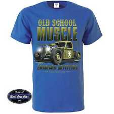 T Shirt royalblau US Car V8 Oldschool Hot Rod&`50 Stylemotiv Modell Old School