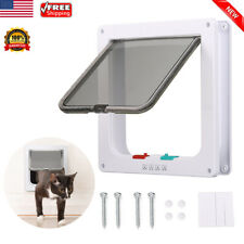 Pet Cat Interior 4-Way Locking Small Dog Kitty Flap White Catflap Safe Door Gate