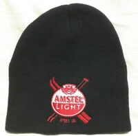Amstel Light Apres Ski Yupoong Black Red White Embroidered Knit Hat
