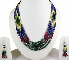 5 Strands Natural Ruby Emerald Sapphire 925 Silver Gem Beads Necklace & Earrings