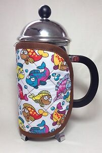 Handmade Cafetiere Cosy. Fits A 12 Cup Jug. Fun, Colorful Fish Cotton Fabric.