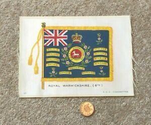 Antique Silk BDV Cigarettes Cigarette Card Military Royal Warwickshire 6th Flag