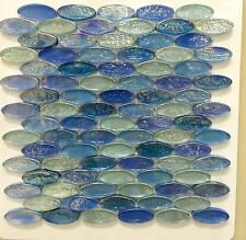 ASLG-3  ACOUSTIC BLUE Oval Glass Mosaic Tile for Kitchen Backsplash Spa