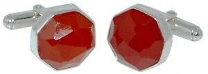 Natural Red Onyx Cufflinks Deco Styl Faceted Real Gemstone Solid Sterling SILVER