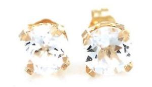 3ct Natural White Topaz 14K Yellow Solid Gold Stud Earrings Diamond Alternative