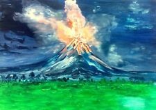 PHILIPPINES MAYON VOLCANO ERUPTION, ALBAY  ORIGINAL WATERCOLOR PAINTING - pair