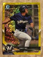 2018 Bowman Chrome Corey Ray RC Canary Yellow Shimmer Refractor 17/75