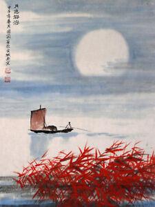 """Chinesische Malerei """"Glänzender Mond"""" Landschaftsmalerei Tuschemalerei Bild"""