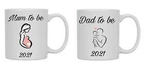 Mum to be, Dad to be - PAIR OF STUNNING MATCHING MUGS baby shower gift,