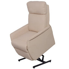 Electric Power Lift Chair Recliner Sofa PU Leather Padded Seat Living Room Beige