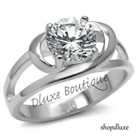 2.0 Ct Round Brilliant Cut CZ Stainless Steel Engagement Ring Women's Size 5-10