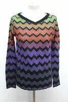 MISSONI Ladies Multi Pattern V Neck Long Sleeve Knitted Jumper Size UK Medium