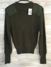 Military Style Crew Neck Acrylic Sweater with Patches Size 36 NWT