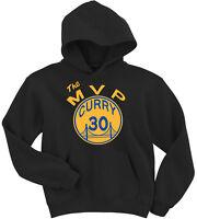 "BLACK Steph Curry Golden State Warriors ""MVP"" jersey Hooded SWEATSHIRT HOODIE"