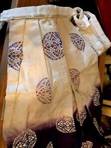 ANTIQUE GENUINE SILK Japanese Original Vintage Tie Side Screen Printed Skirt