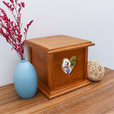 Solid Wooden Pet Dog Box Cremation Ashes Burial Casket Memory Box Terrier Set
