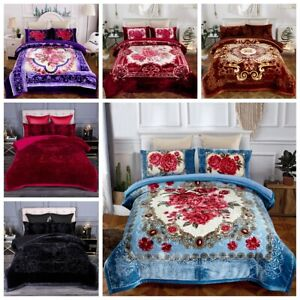 3 Ply Heavy Thick Warm Sherpa Comforter Set With 2 Pillow Shams  8Lbs