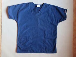 Cherokee Workwear Mens Womens Scrub Top V Neck Size XS Navy