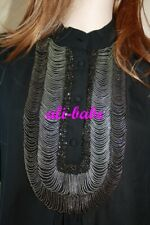 3.1 Phillip Lim black silk chain bead blouse top 2 long sleeve shirt silver