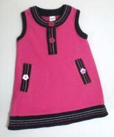 INFANT GIRLS BABY GAP PINK & NAVY BLUE STITCH FLOWER BUTTON SHIFT DRESS 6-12 MON