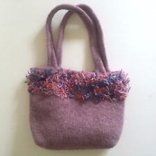"""HAND KNIT HAND FELTED WOOL """" FUR """" TRIMMED LILAC PURPLE DESIGNER TOTE BAG PURSE"""
