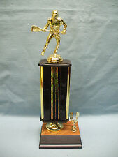 male lacrosse award black column weighted base eagle trim