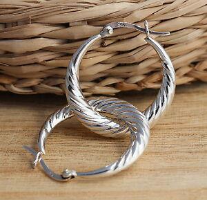 925 Sterling Silver Creole Hoop Earrings 26mm Huggie Hoops Earrings Jewellery