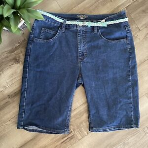 Riders by Lee Mid Rise Bermuda Stretch Denim Jean Shorts Dark Wash Size 12M