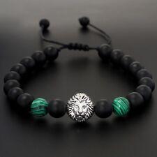 Mens Matt Onyx Green Malachite Lion Head Beaded Yoga Mala Bead Macrame Bracelet