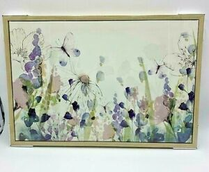 Lilac Framed Floral Canvas Beautiful Print Home Modern New