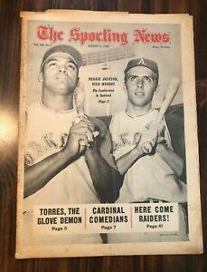 Sporting News Baseball newspaper, 8/17/68, Reggie Jackson, Rick Monday, A's