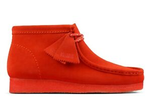 NEW MENS CLARKS ORIGINAL WALLABEE LIMITED EDITION RED ORANGE SUEDE LEATHER SHOES