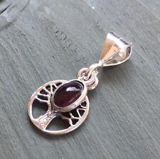 Dainty 925 Sterling Silver Tree Of Life Garnet Charm Pendant Pagan Wicca Chakra