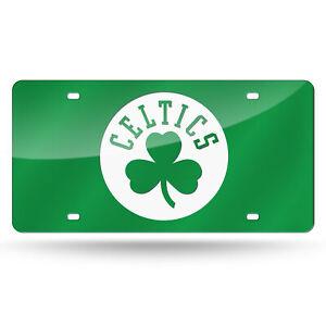 Boston Celtics NBA Green Mirrored Laser Cut License Plate Laser Tag