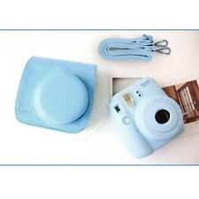 Blue Leather Camera Case Bag Shoulder Strap for Fuji Fujifilm Instax Mini8
