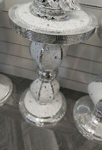Silver white Vase stand table Romany Mirrored Bling Mosaic Italian Home Decor UK