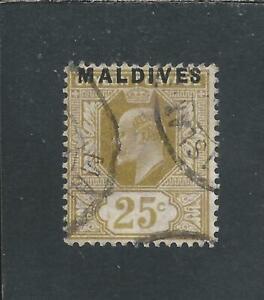 MALDIVE IS 1906 25c BISTRE GU SG 6 CAT £225