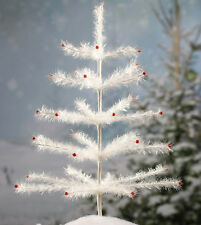 """CLEAR/WHITE 19"""" FAUX GERMAN TINSEL FEATHER TREE! CHRISTMAS TABLETOP LIMITED QTY"""
