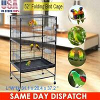 52'' Large Bird Cage Parrot Cockatiel Finch Pet Macaw Stand Wire House Movable