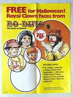 1979 RC COLA HALLOWEEN promotional poster w/ BO-DINO THE CLOWN Royal Crown 17x22
