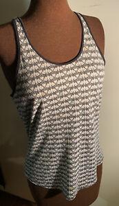 TOPSHOP KATE MOSS grey black scoop vest t-shirt face print cotton 8 racer back